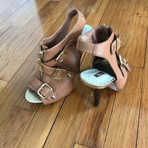 Matiko leather slingback open-toe ankle heel